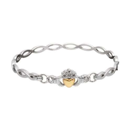 Claddagh Bangle with Gold Heart