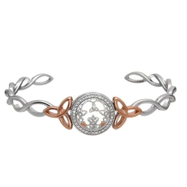 Silver Bangle Claddagh & Trinity CZ Cuff Rose Gold Plated