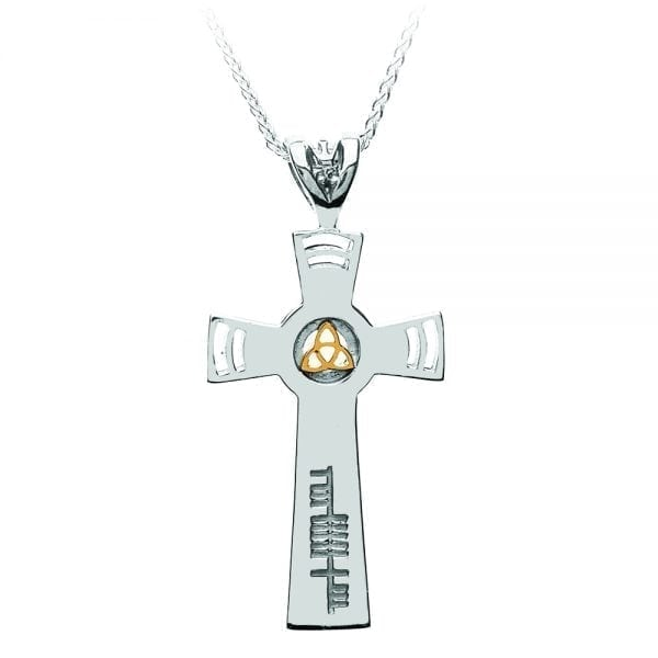 Ogham Inscribed Cross with 18K Gold Trinity