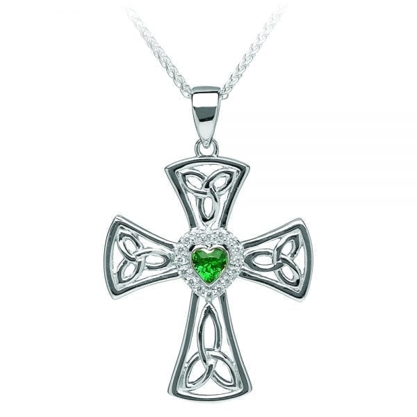 Silver Cross Clear CZ and Green Heart CZ