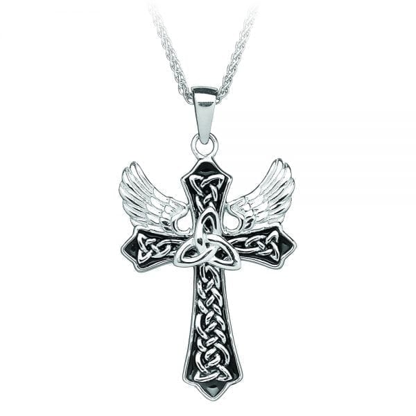 Silver Cross Trinity Cross with Angels Wings