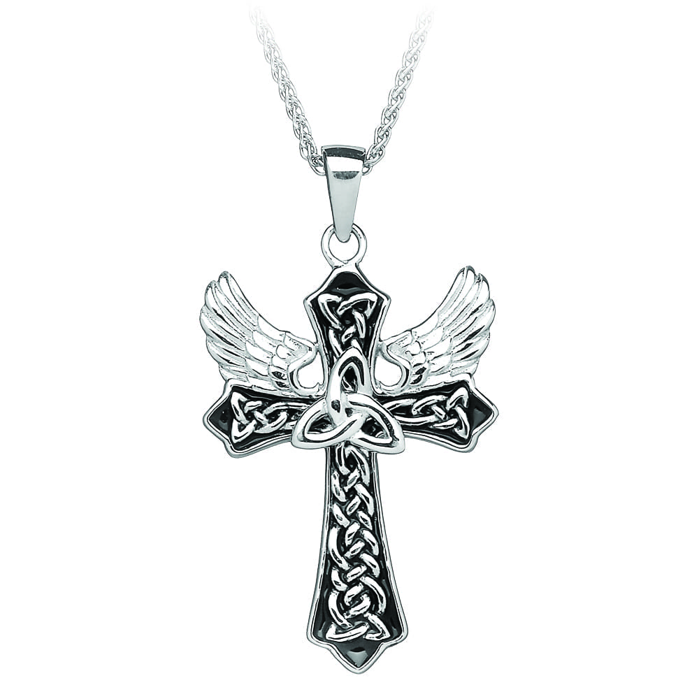 Silver Cross Trinity Cross with Angels Wings - Celtic