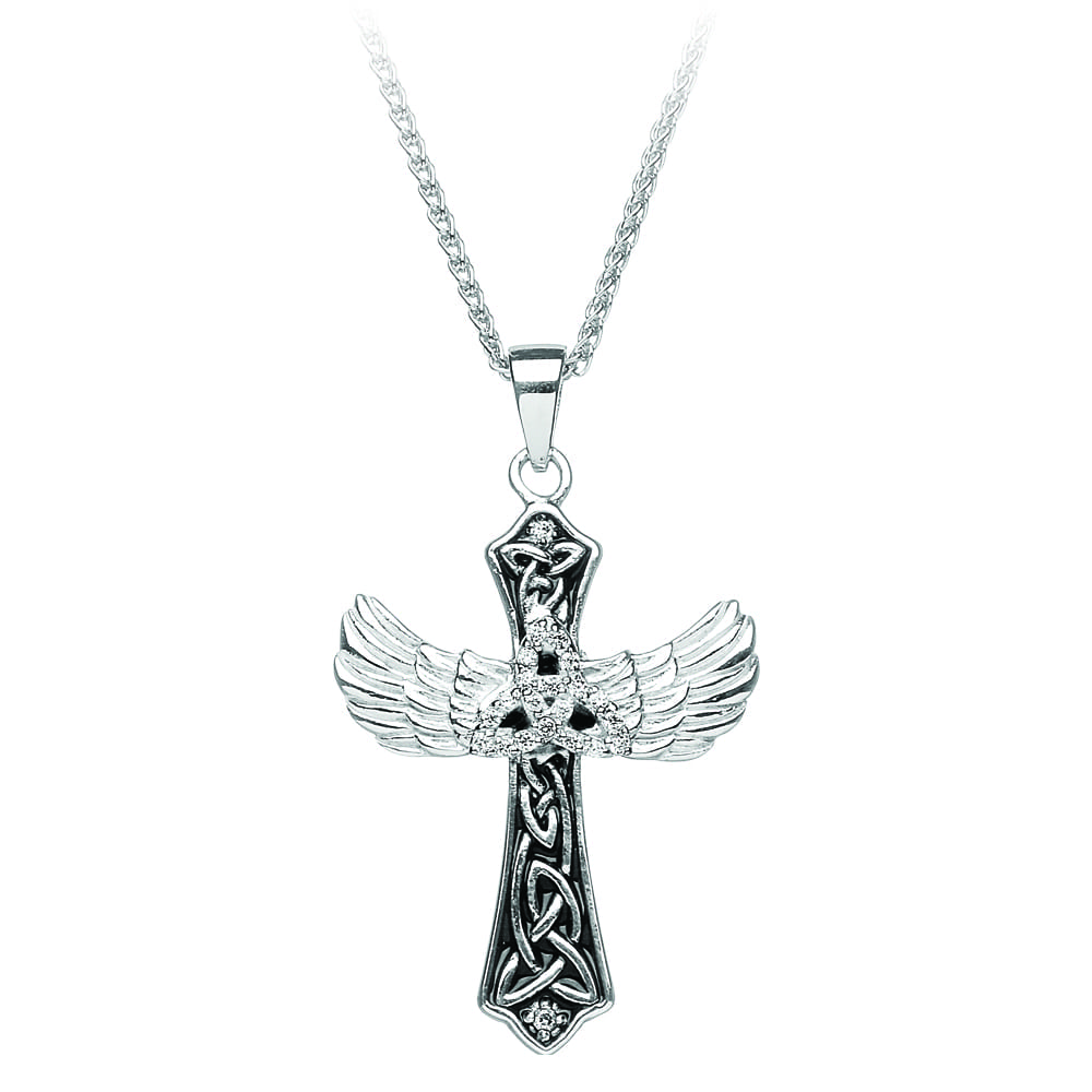 Silver Cross Stone Set Trinity Cross with Angels Wings