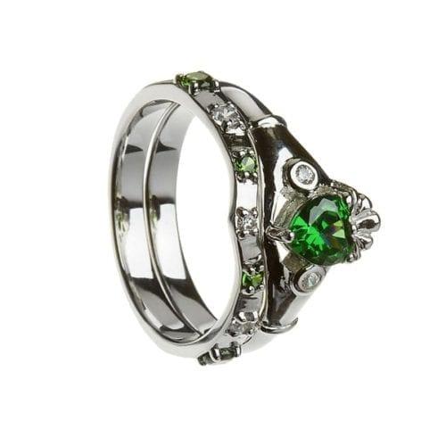 Silver Stone Set Claddagh Ring and Matching Band - Boru Jewelry