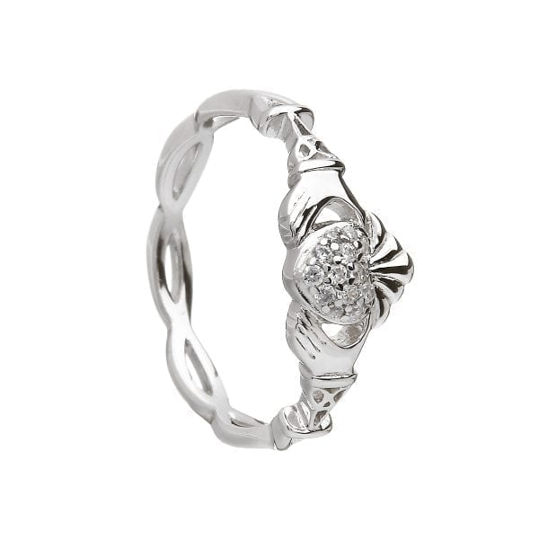 Silver Claddagh Ring Pavé Set