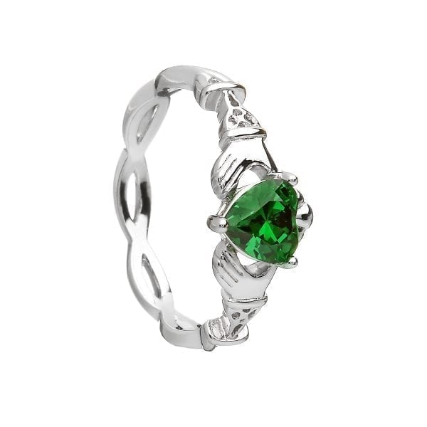 Green Stone Claddagh Ring