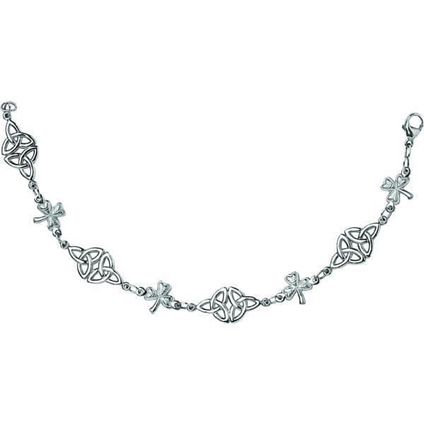 Silver Bracelet Trinity Shamrock Link
