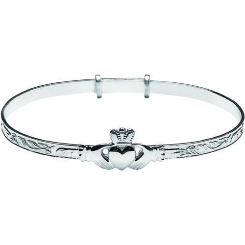 Ladies Silver Claddagh Bangle