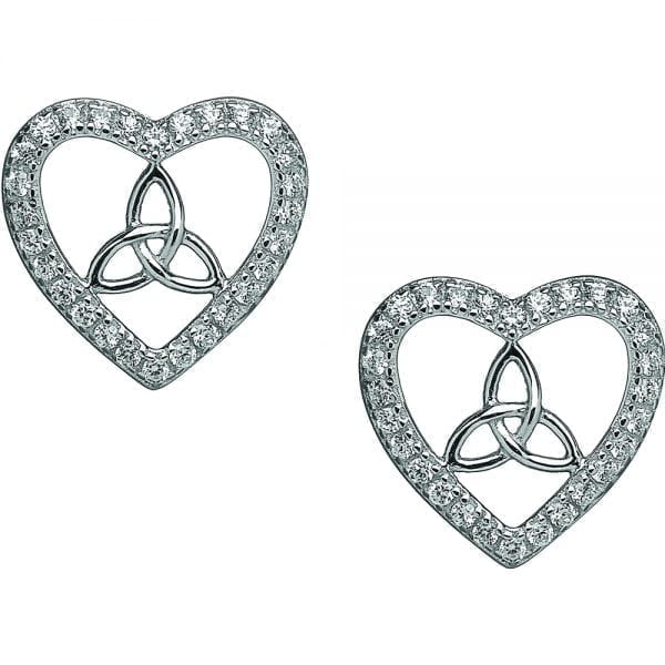 Silver Trinity Heart Earrings