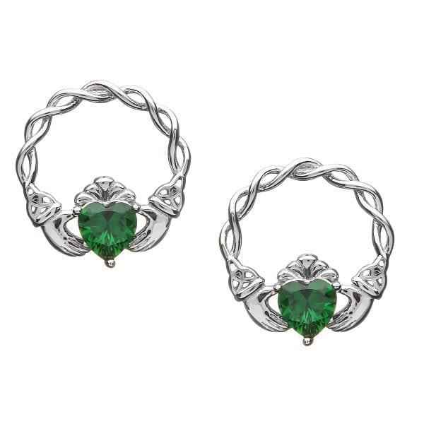 Silver Earrings Claddagh Stone Set