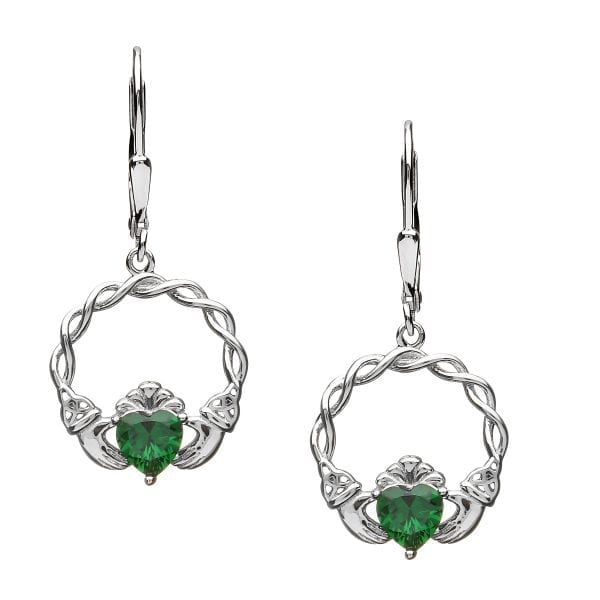 Green Stone Claddagh Earrings