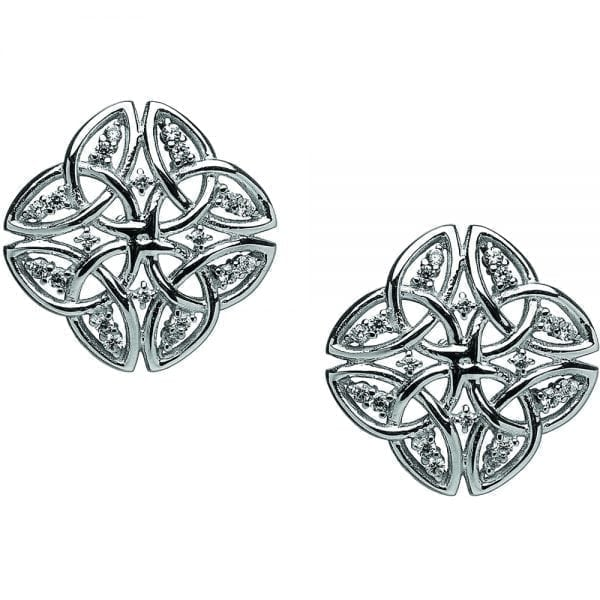 Silver Tetrad Trinity Earrings