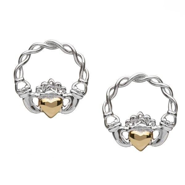 Silver Earrings Solid 10K Heart Claddagh
