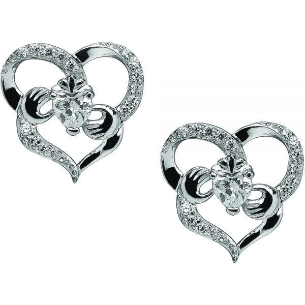 Heart Claddagh Silver Earrings