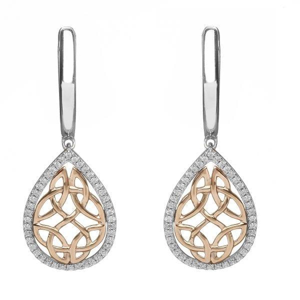 Trinity & Diamond Teardrop Earrings