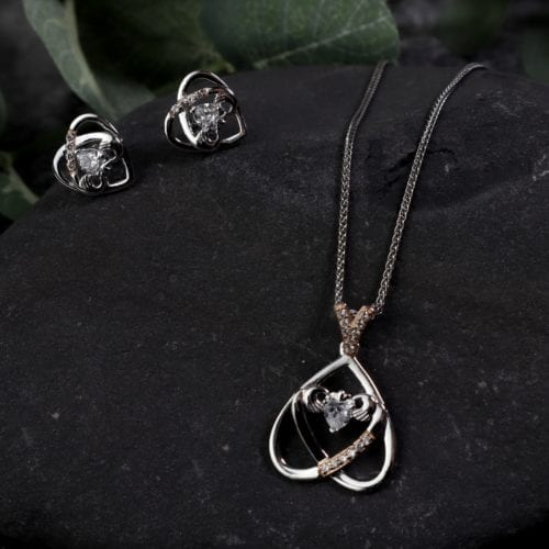 Upside-Down-Claddagh-Earrings-Pendant-Set