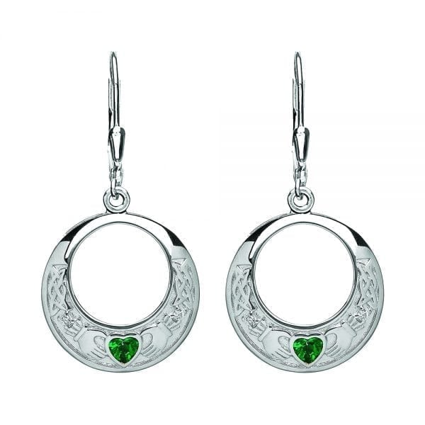 Claddagh Earrings with Green CZ