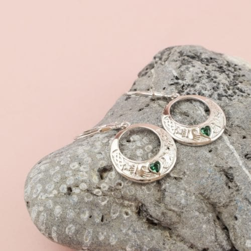 Claddagh Stone Set Earrings
