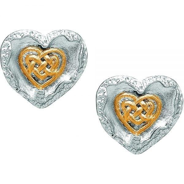 Silver Earrings Brushed Celtic Heart