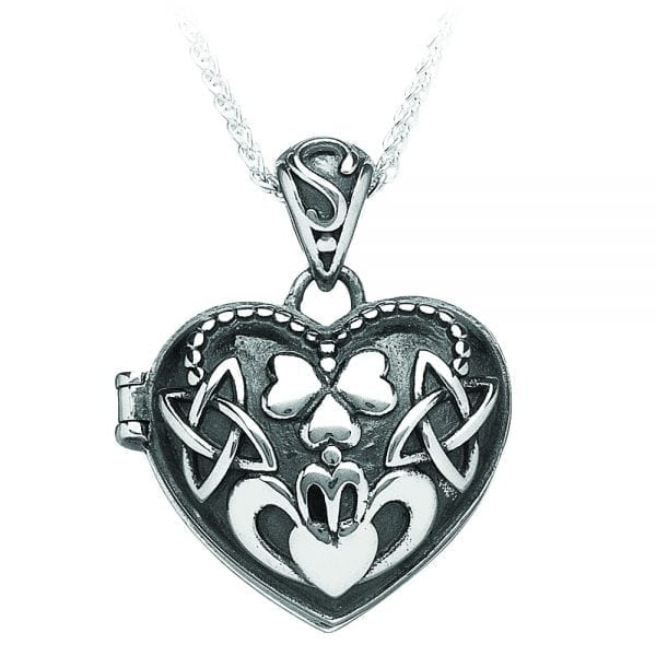 Puffed Heart Claddagh Locket