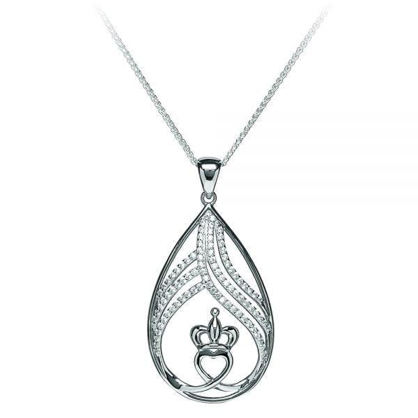 Teardrop Claddagh Pendant silver