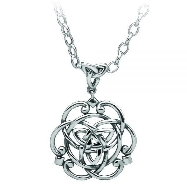 Silver Pendant Celtic with Trinity Knot Centre