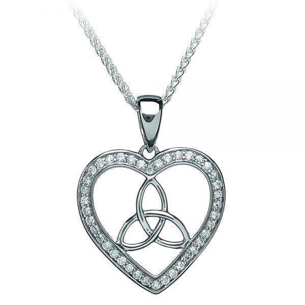 Stone Set Trinity Heart Pendant