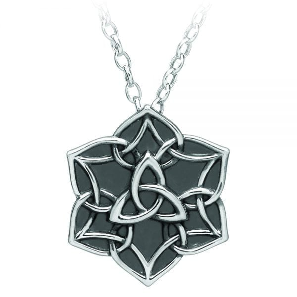 Silver Pendant Antiqued Trinity Star