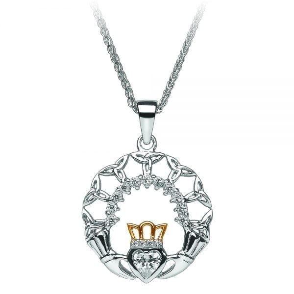 Silver Claddagh and Trinity Pendant