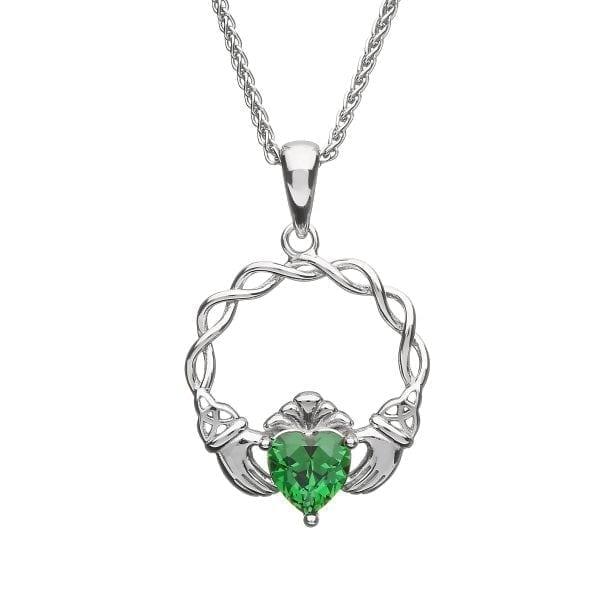 Green Stone Claddagh Pendant