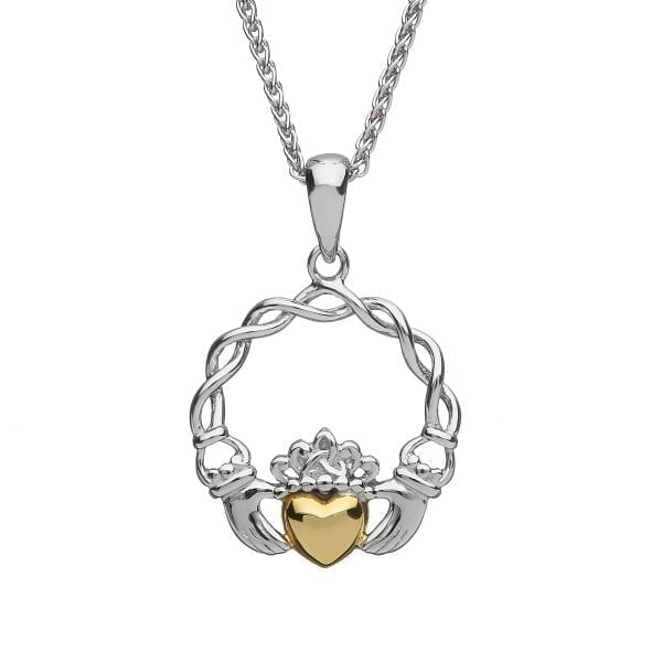 Claddagh Pendant with Gold Heart