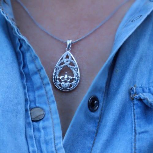Claddagh & Trinity Teardrop Pendant