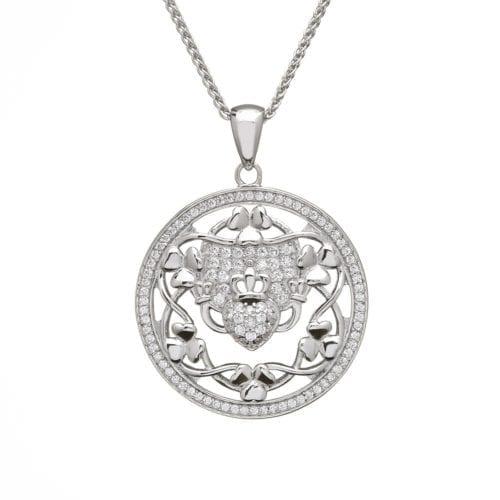 Claddagh & Shamrock Silver Pendant