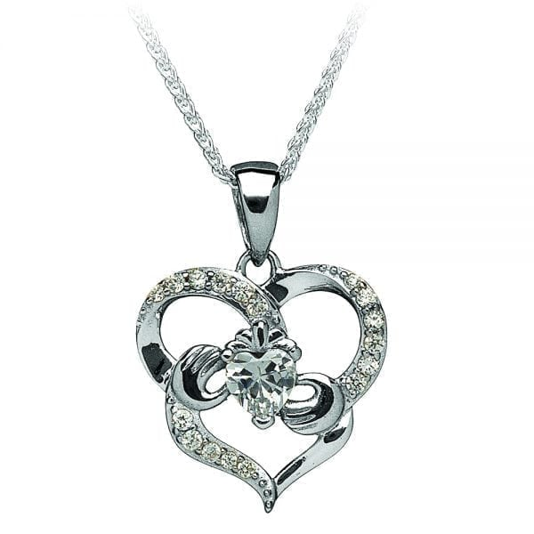 Silver Pendant Stone Set Heart Claddagh