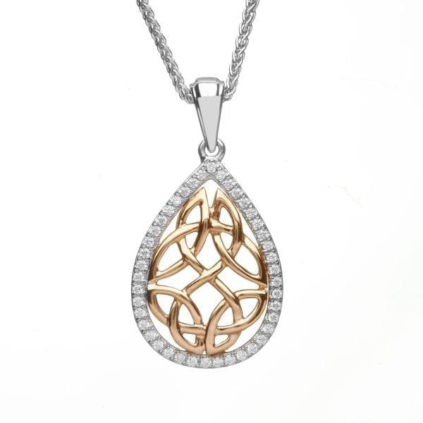 Trinity & Diamond Teardrop Pendant