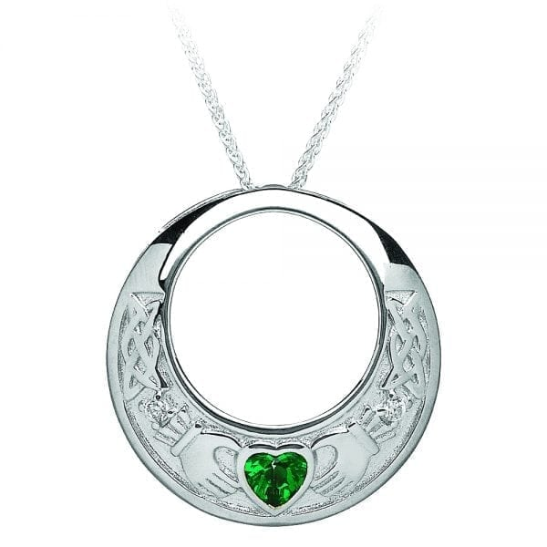 Claddagh Pendant with Green & Clear CZ