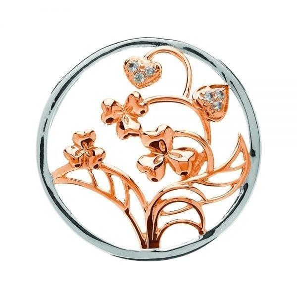 Silver Pendant Flowering Shamrocks & Hearts Disc