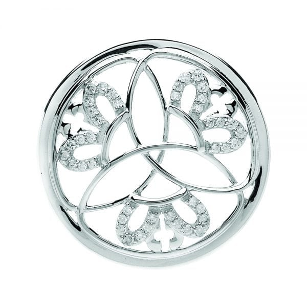 Silver Pendant Crowned Trinity Disc
