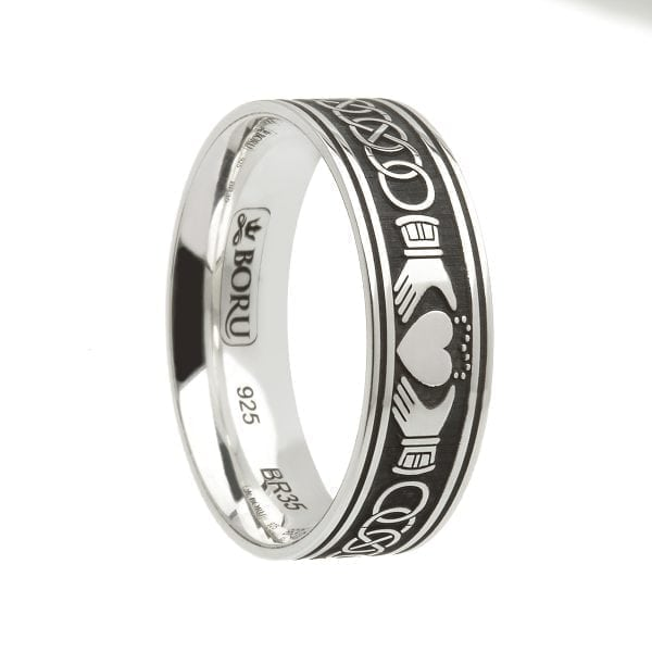 Wide Celtic Knot Claddagh Ring