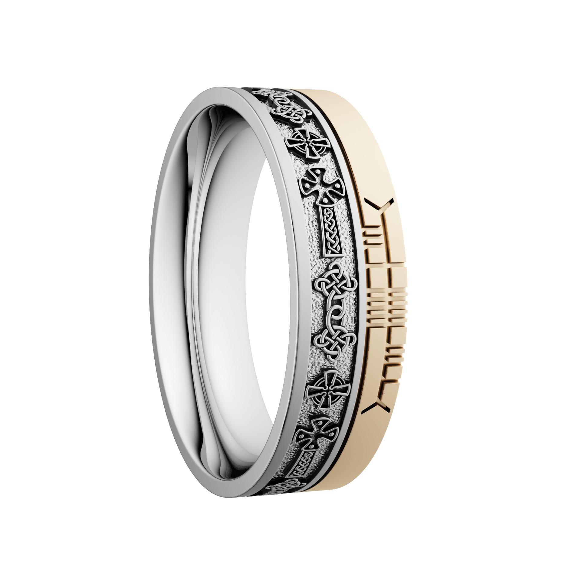 Comfort Fit Celtic Cross Style Ogham Wedding Ring