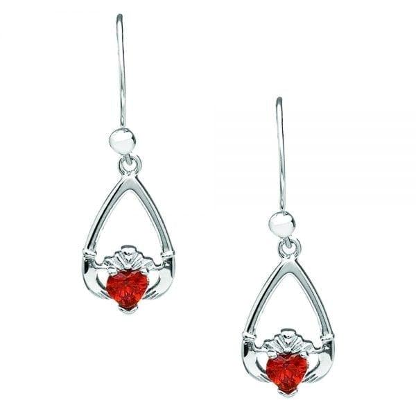 January Claddagh Earrings – Garnet