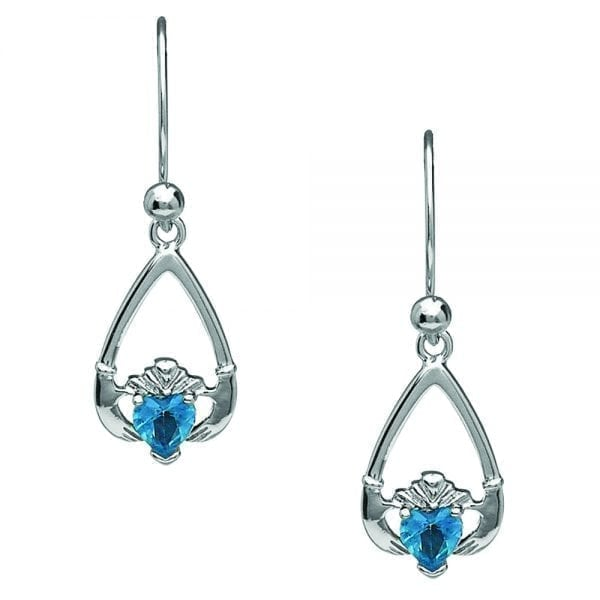 December Claddagh Earrings – Blue Topaz