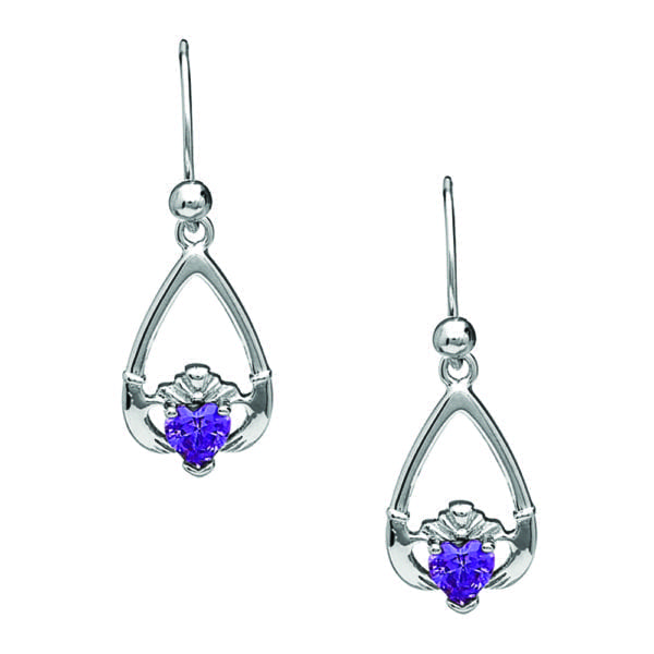 February Claddagh Earrings - Amethyst - Boru Jewelry