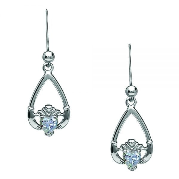 April Claddagh Earrings – Cubic Zirconia
