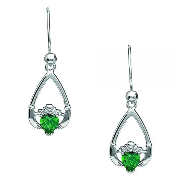 May Claddagh Earrings – Green Cubic Zirconia
