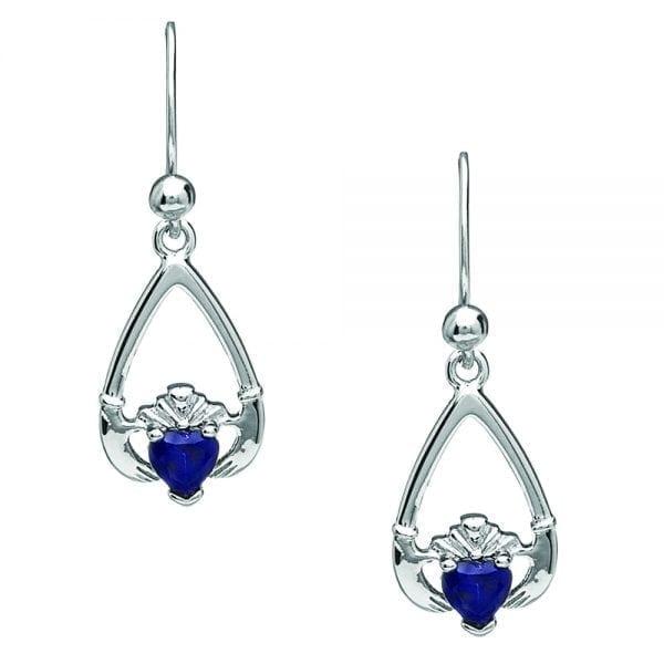September Claddagh Earrings – Sapphire