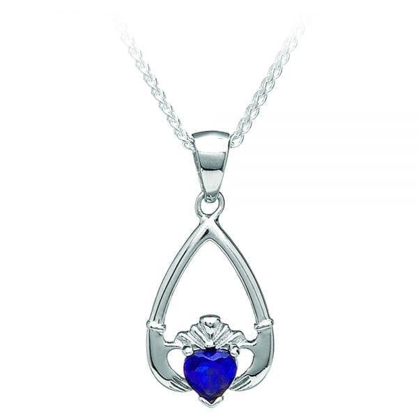 September Claddagh Pendant – Sapphire