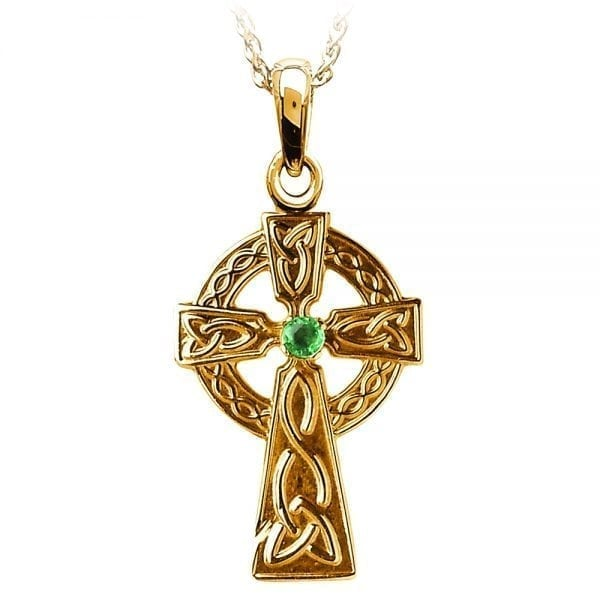 Traditional Celtic Cross with Emerald