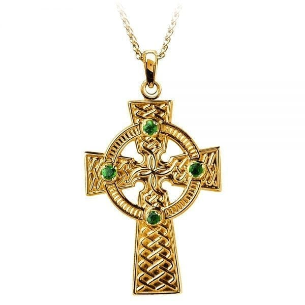 Traditional Celtic Knot with Emeralds –  Medium