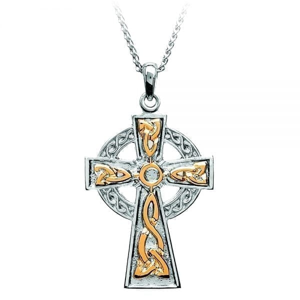Traditional Celtic Cross with 18K Gold